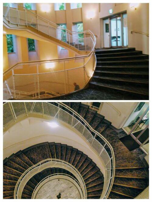 ザ・プリンスさくらタワーから中庭に抜ける螺旋階段