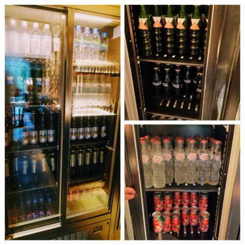 クラブラウンジの冷蔵庫のドリンク